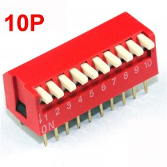 10 poles Dip Switch Red