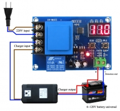 Battery charge control module with indicator
